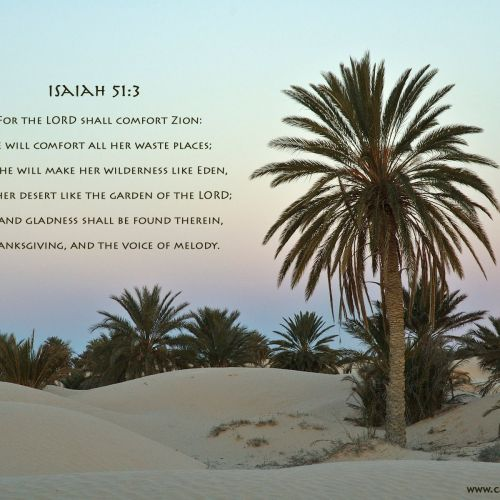 Isaiah 51:3 christian wallpaper free download. Use on PC, Mac, Android, iPhone or any device you like.