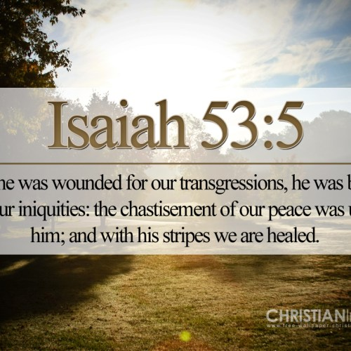 Isaiah 53:5 christian wallpaper free download. Use on PC, Mac, Android, iPhone or any device you like.