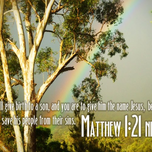 Matthew 1:21 christian wallpaper free download. Use on PC, Mac, Android, iPhone or any device you like.