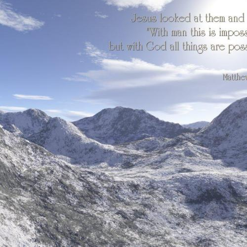 Matthew 19:26 christian wallpaper free download. Use on PC, Mac, Android, iPhone or any device you like.