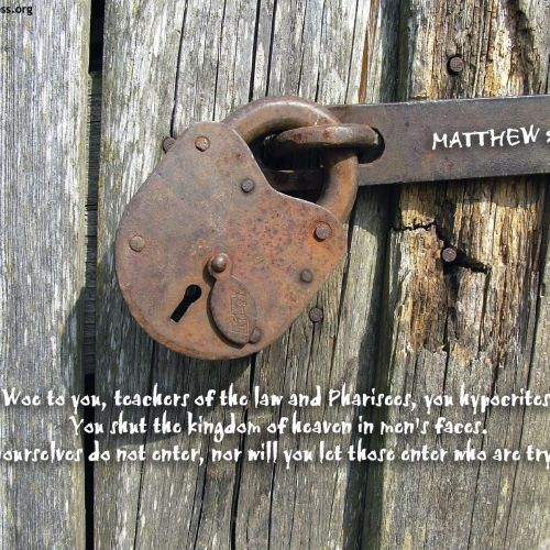 Matthew 23:13 christian wallpaper free download. Use on PC, Mac, Android, iPhone or any device you like.