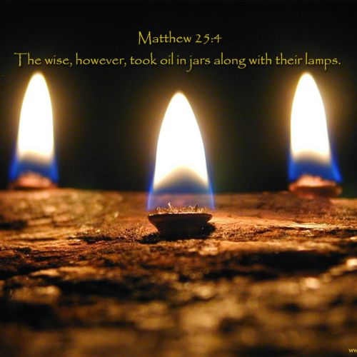 Matthew 25:4 christian wallpaper free download. Use on PC, Mac, Android, iPhone or any device you like.