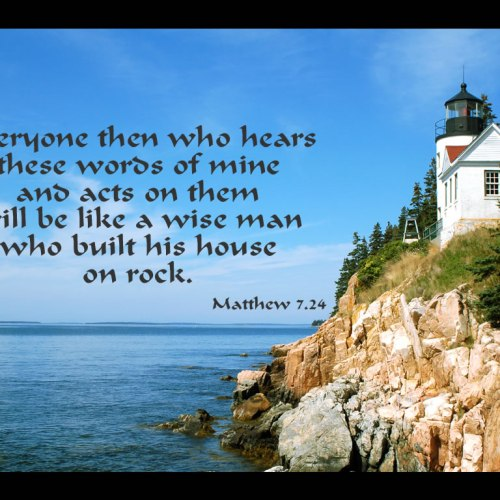 Matthew 7:24 christian wallpaper free download. Use on PC, Mac, Android, iPhone or any device you like.