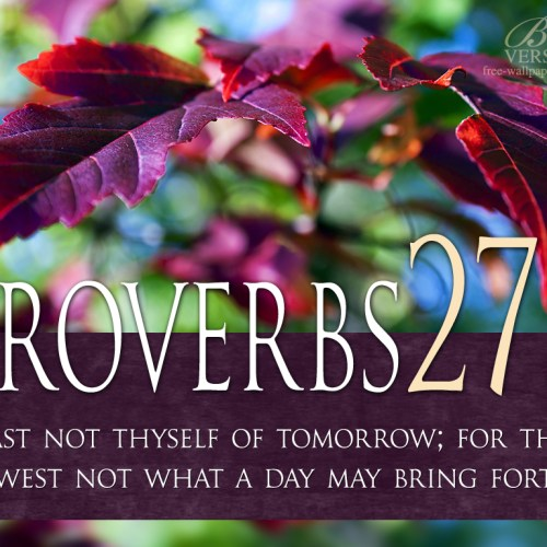 Proverbs 27:1 christian wallpaper free download. Use on PC, Mac, Android, iPhone or any device you like.