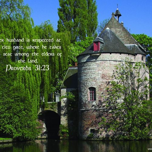 Proverbs 31:23 christian wallpaper free download. Use on PC, Mac, Android, iPhone or any device you like.