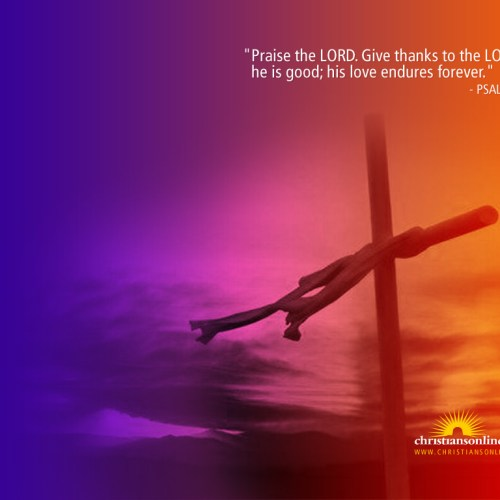 Psalm 106:1 christian wallpaper free download. Use on PC, Mac, Android, iPhone or any device you like.