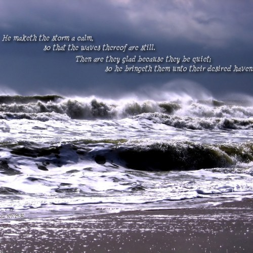 Psalm 107:29-30 christian wallpaper free download. Use on PC, Mac, Android, iPhone or any device you like.