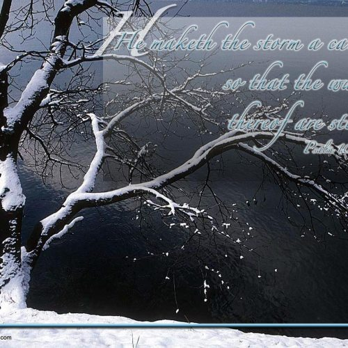 Psalm 107:29 christian wallpaper free download. Use on PC, Mac, Android, iPhone or any device you like.