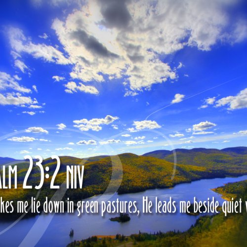 Psalm 23:2 christian wallpaper free download. Use on PC, Mac, Android, iPhone or any device you like.
