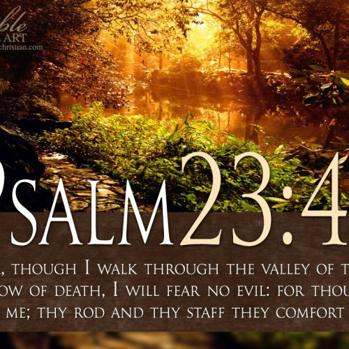 Psalm 23:4 christian wallpaper free download. Use on PC, Mac, Android, iPhone or any device you like.