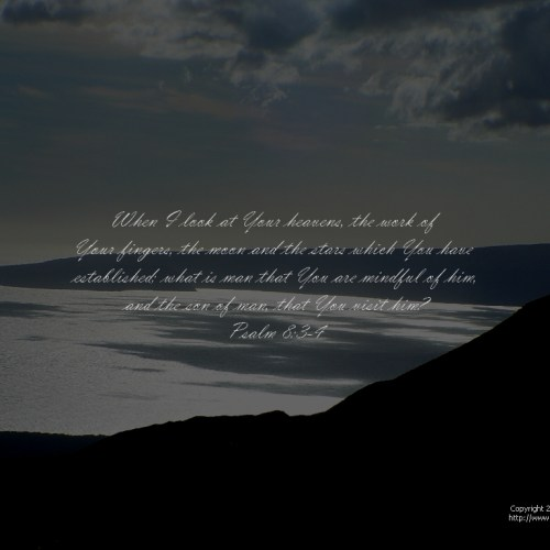 Psalm 8:3-4 christian wallpaper free download. Use on PC, Mac, Android, iPhone or any device you like.