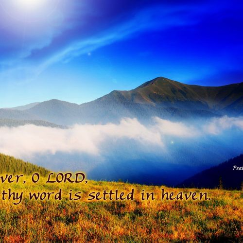 Psalms 119:89 christian wallpaper free download. Use on PC, Mac, Android, iPhone or any device you like.