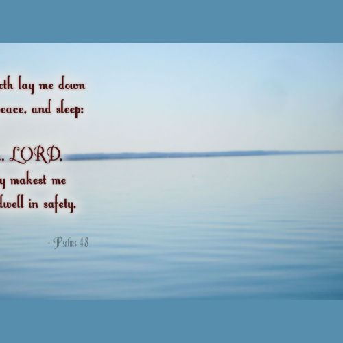 Psalms 4:8 christian wallpaper free download. Use on PC, Mac, Android, iPhone or any device you like.