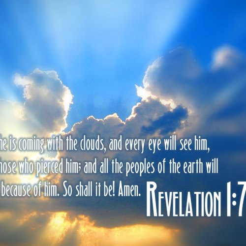 Revelation 1:7 christian wallpaper free download. Use on PC, Mac, Android, iPhone or any device you like.