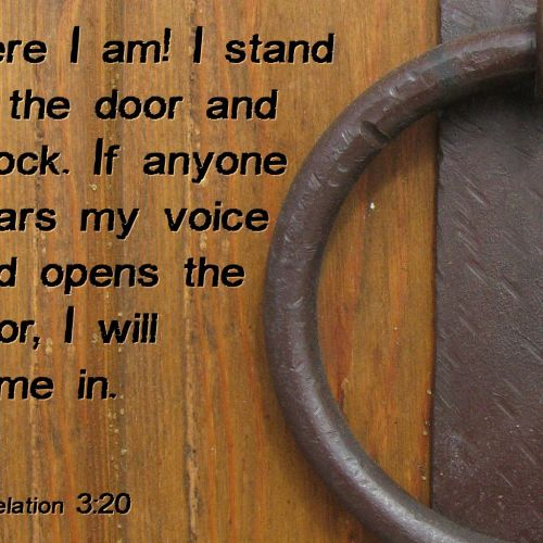 Revelation 3:20 christian wallpaper free download. Use on PC, Mac, Android, iPhone or any device you like.