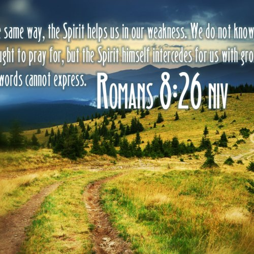 Romans 8:26 christian wallpaper free download. Use on PC, Mac, Android, iPhone or any device you like.