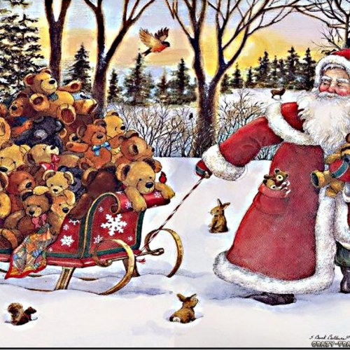 Teddy Bears and Santa christian wallpaper free download. Use on PC, Mac, Android, iPhone or any device you like.