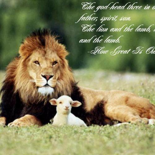 The Lion and the Lamb christian wallpaper free download. Use on PC, Mac, Android, iPhone or any device you like.