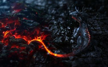 Free Wallpapers: Mythical Creatures Artwork Small Dragons Tails Fire Lava Smoke Ma Digital Art