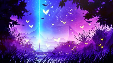 forest purple fantasy landscape magical backgrounds 4k firefly background anime desktop hd wallpapers pink butterfly abstract artist