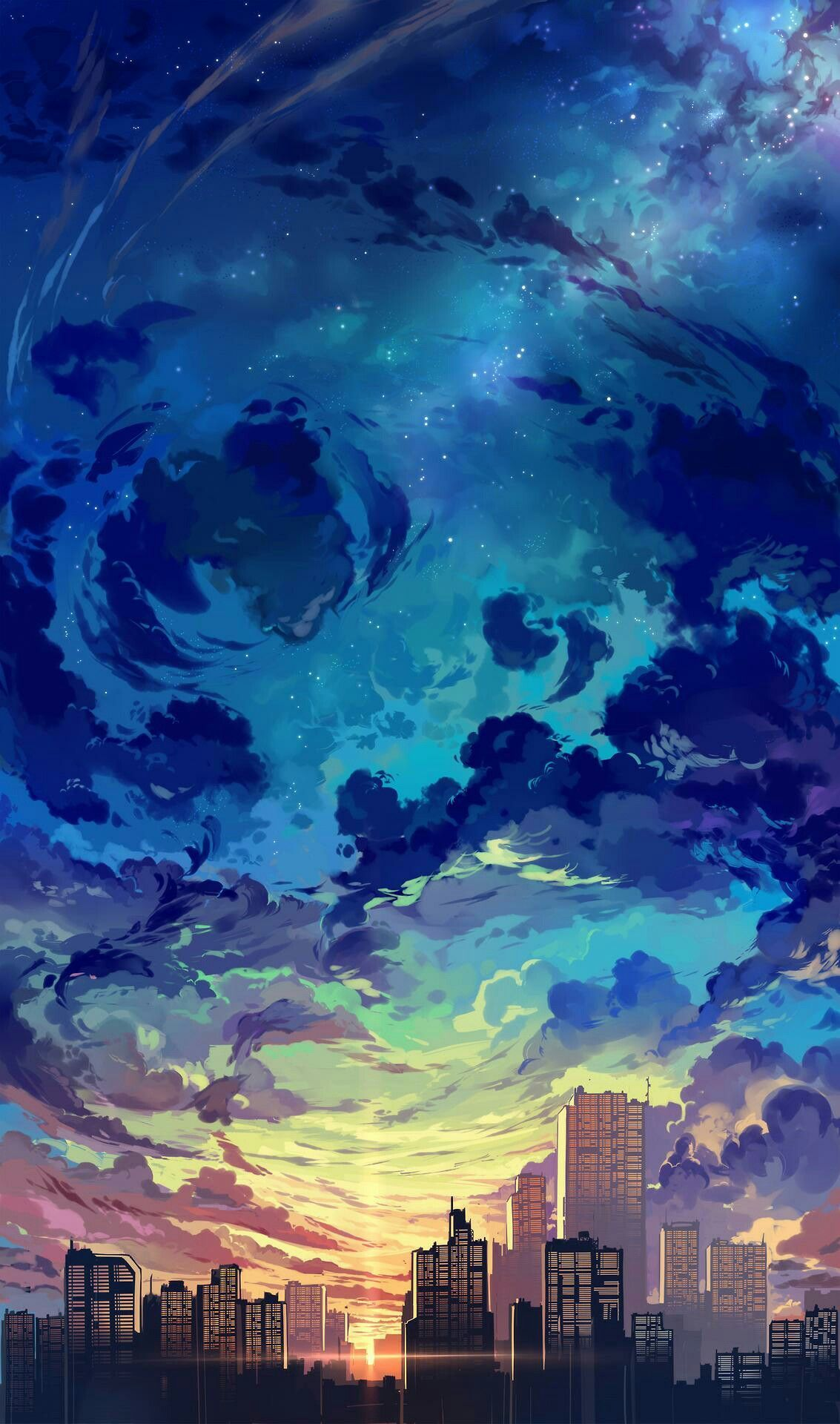 Anime Skyline : anime, skyline, Anime, Skyline, Wallpapers, Backgrounds, WallpaperAccess