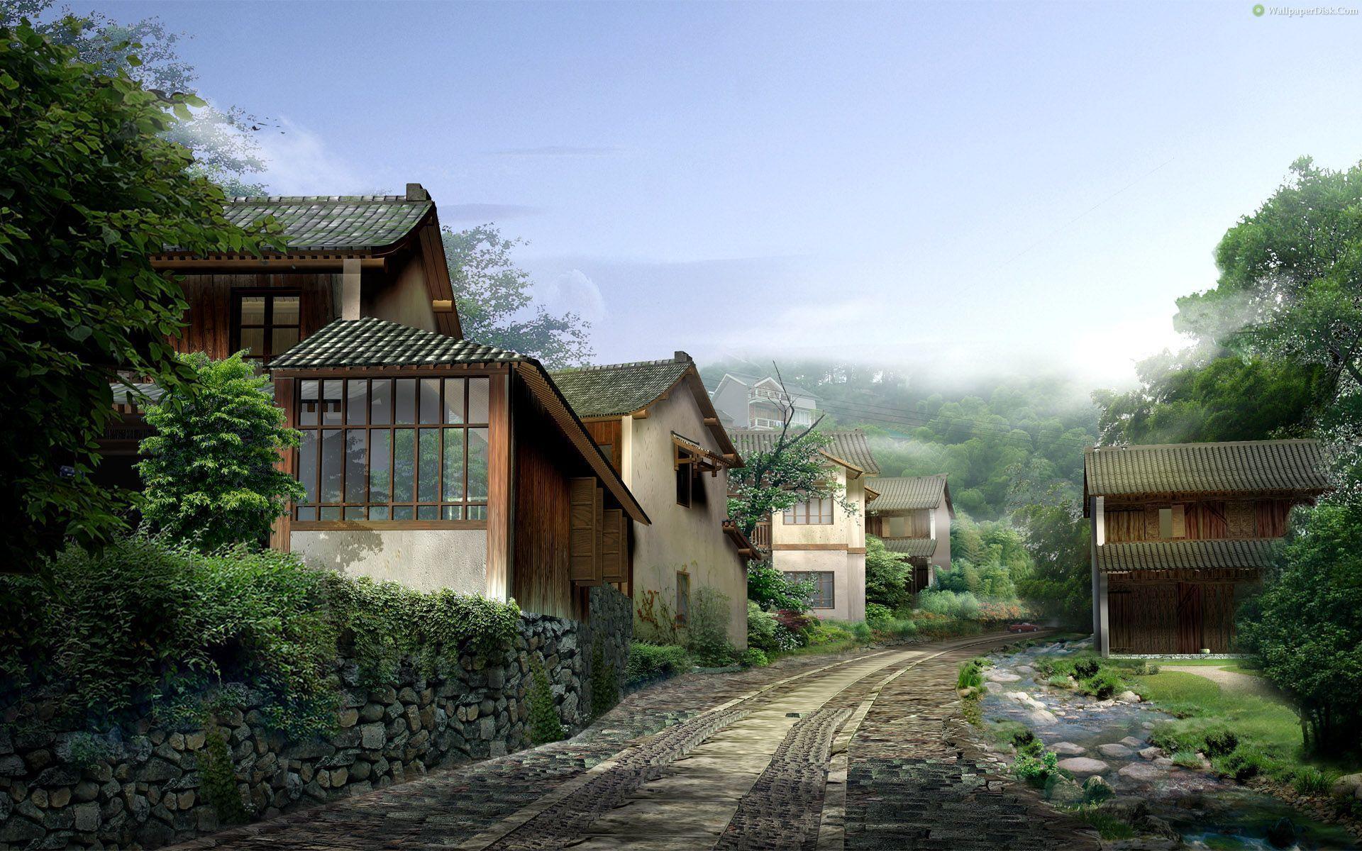 japanese village wallpapers top
