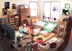 anime bedroom wallpapers wallpaperaccess backgrounds guitar