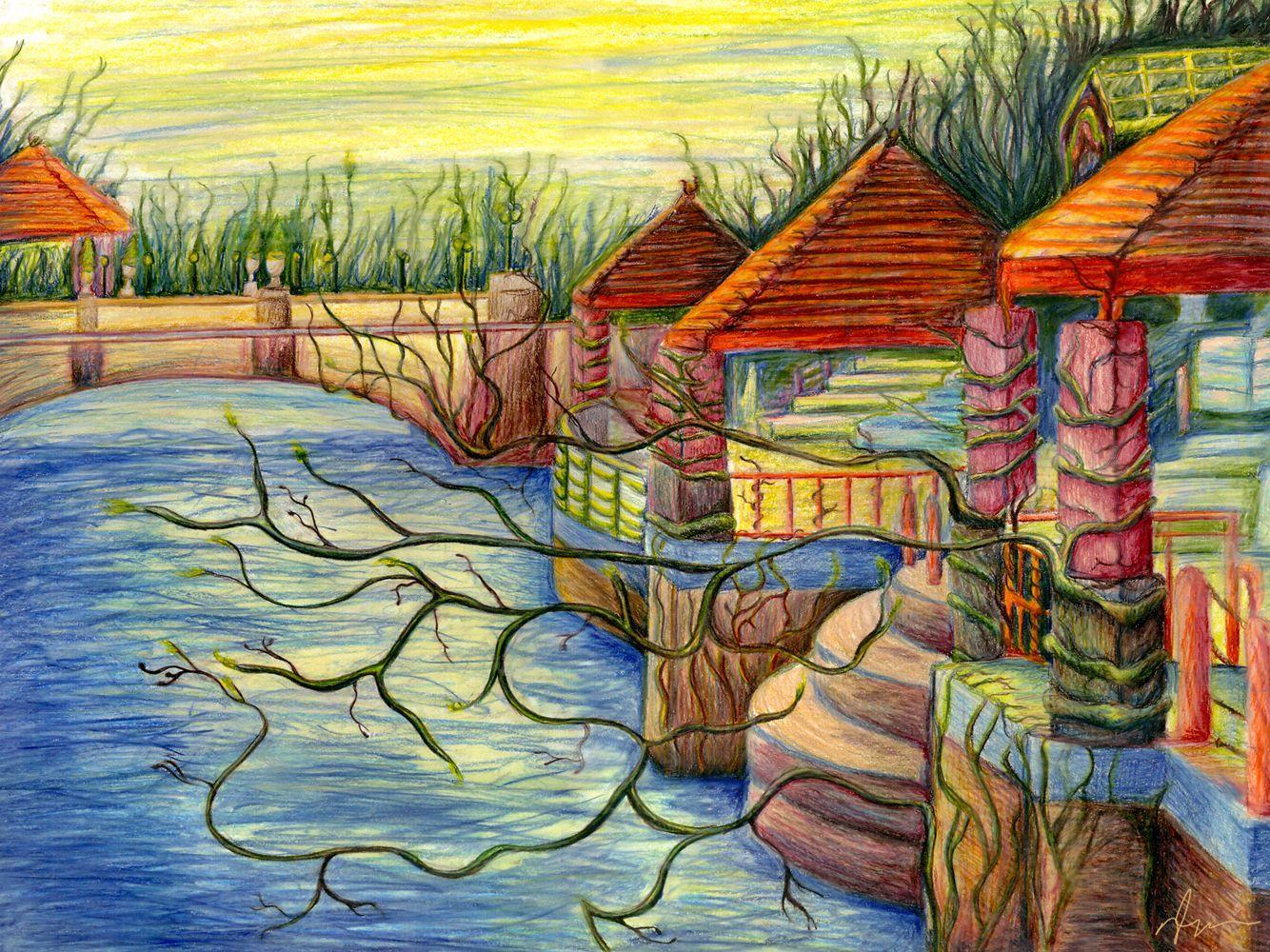 Colour Landscape Pencil Drawing Images Wallpaper