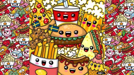 kawaii food fast cute wallpapers cartoon drawings draw party drawing doodle backgrounds hd wallpaperaccess easy kw garbi getdrawings amazing
