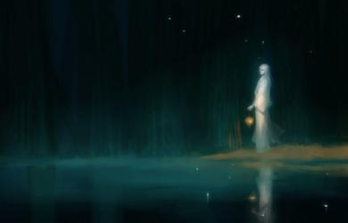 forest dark anime lake fantasy chm fireflies wallpapers wallpaperaccess pixiv kimono zerochan