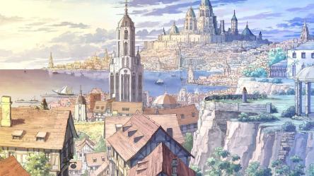 anime fantasy sea town buildings ships wallpapers backgrounds wallpaperaccess kingdoms wallpapermaiden desktop wattpad