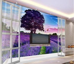 aesthetic lavender 3d tv purple wall backdrop fantasy mural wallpapers custom fields landscape field papers backgrounds wallpaperaccess dreamy murals