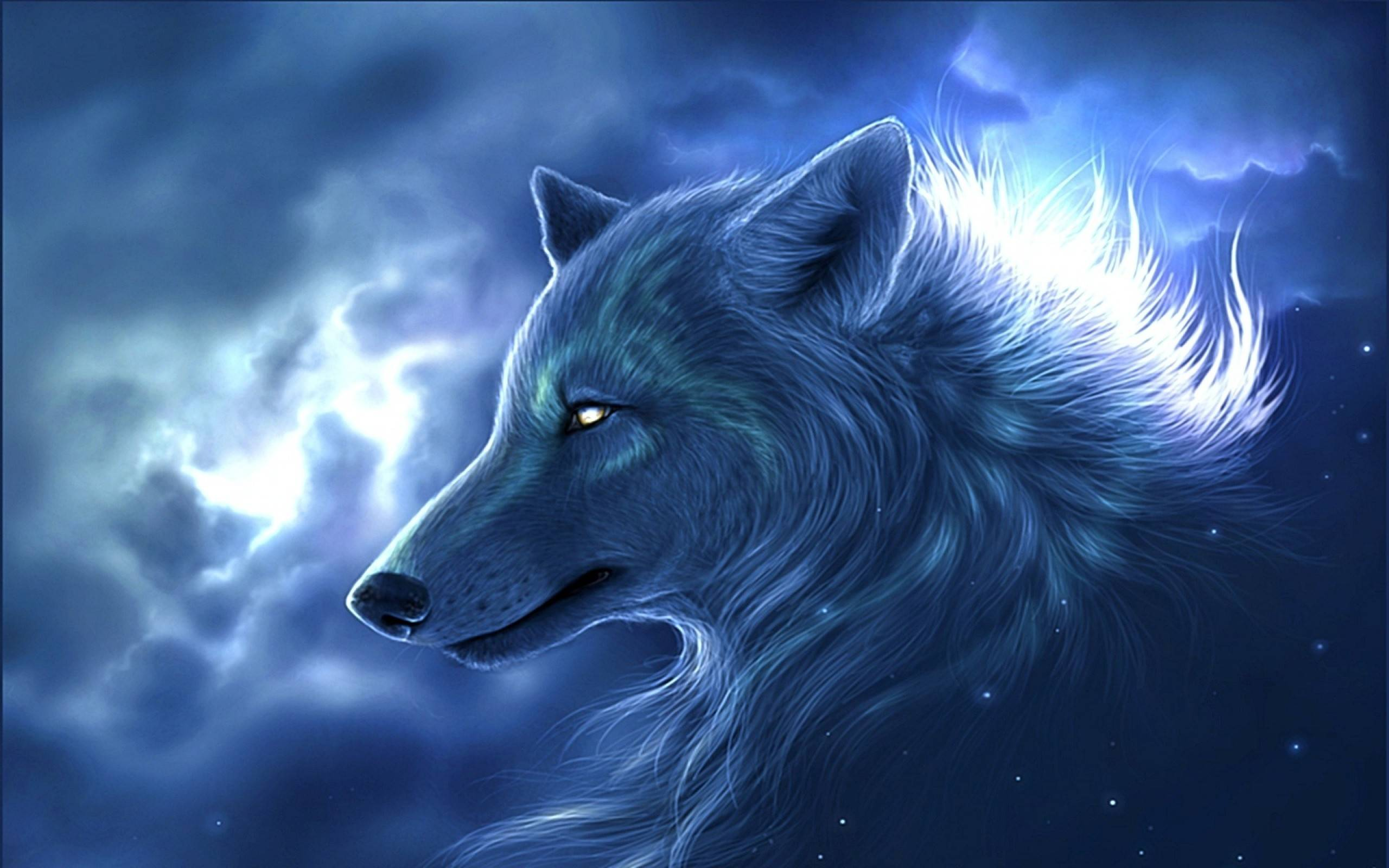 blue anime wolf wallpapers