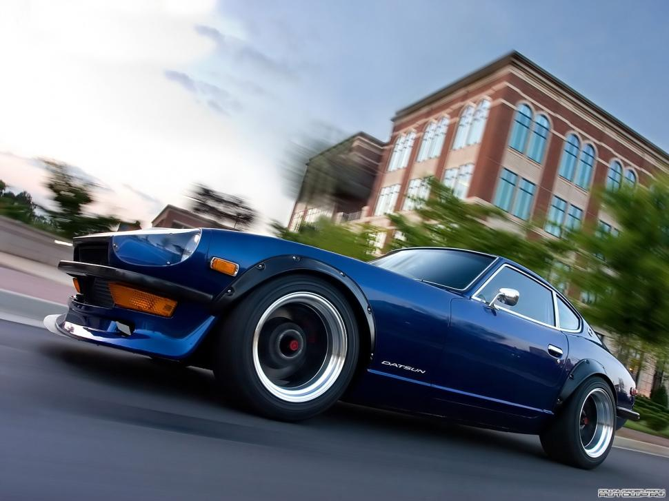 Car, Nissan, Datsun, Datsun 240z, Blue Cars, Motion Blur