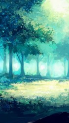 anime tree fantasy artwork forest wallpapercan iphone axle author