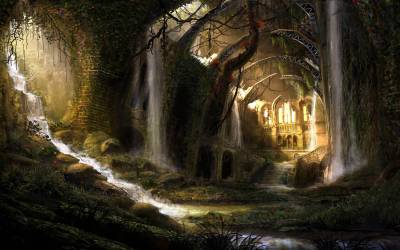 fantasy landscape wallpapers hd desktop backgrounds medieval landscapes background cave scenery gothic fun ruins computer ancient dark nature forest land
