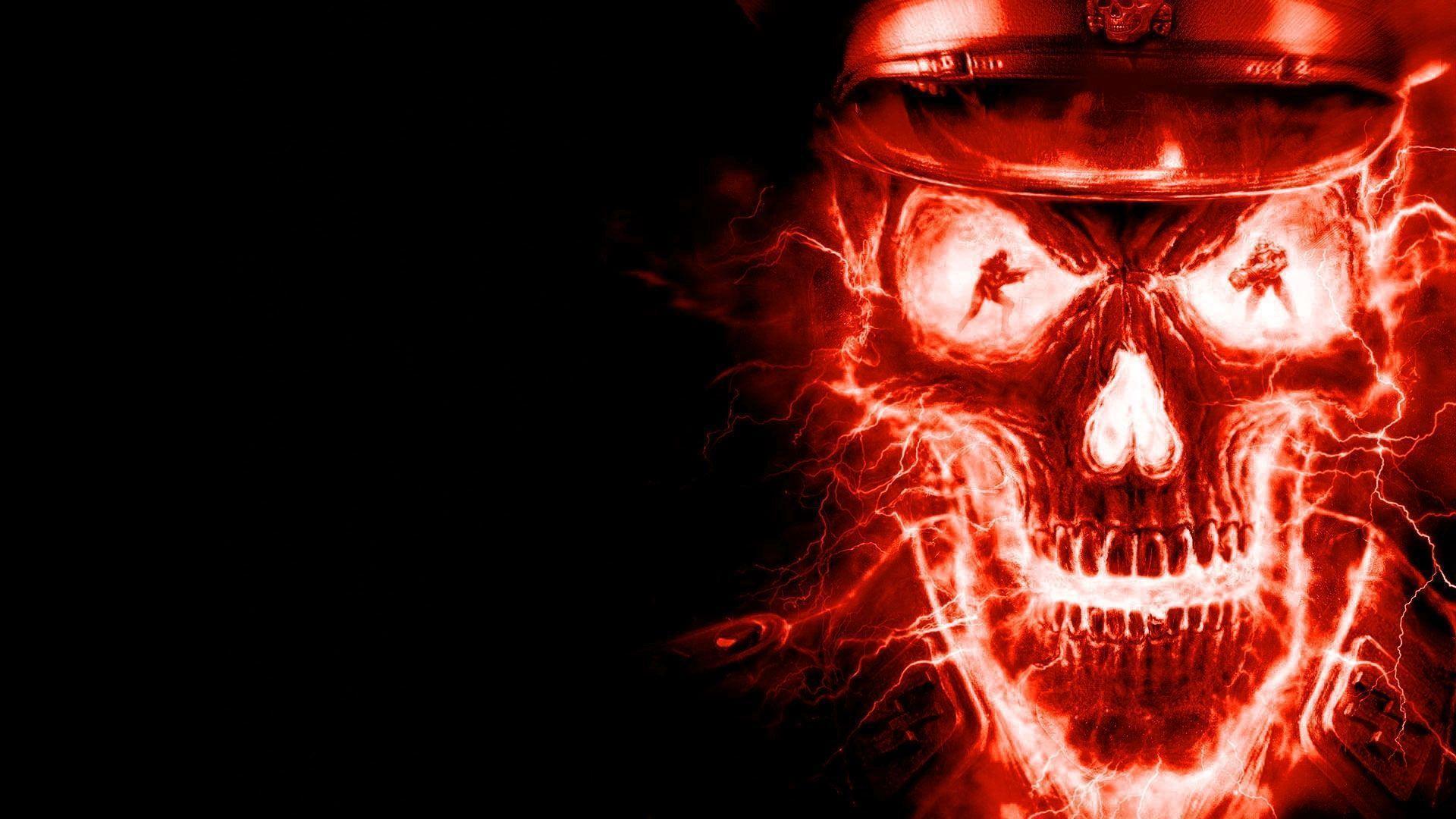 skulls on fire wallpapers