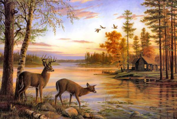 Nature with Deer Painting