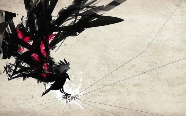 Abstract Crows and Ravens Wallpaper