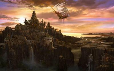 fantasy wallpapers flying castle cities background medieval castles dnd waterdeep ship magical magic palace port waterfall sky fly worlds cg