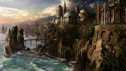fantasy backgrounds wallpapers medieval port desktop town elven landscape village sea dnd cave fall coastal