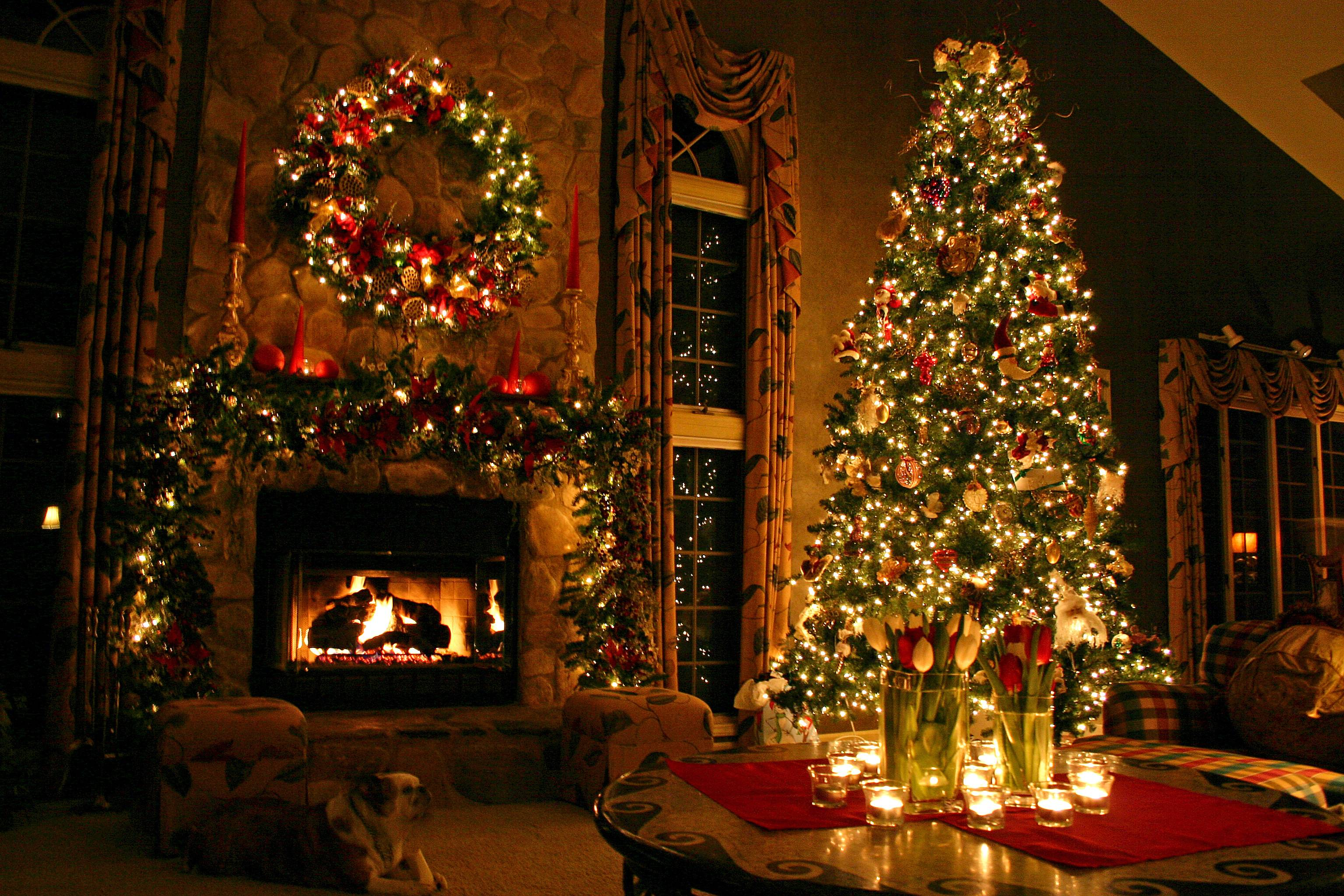 Wallpaper Fireplace Desktop Tree Christmas