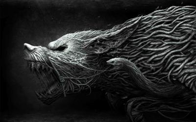 wolf wallpapers cool awesome hd dark computer 3d wild dragon drawing king painting
