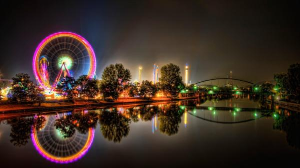 Amusement Park Ferris Wheel at Night