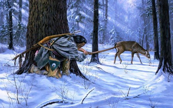 Native American Deer Hunting Painting