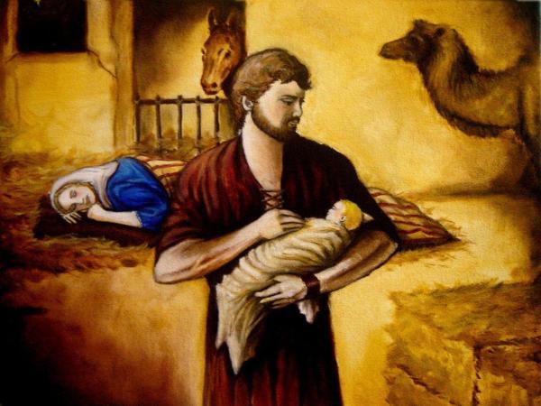Christmas Nativity Scene Painting