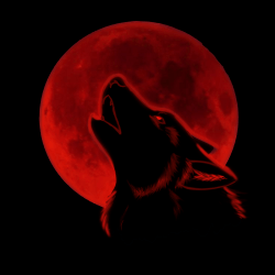 Moon Red Wolf Wallpaper 1