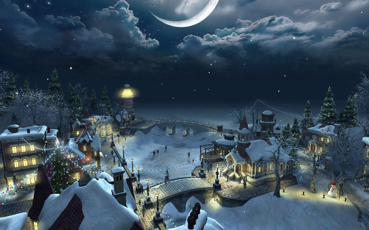christmas scenery backgrounds wallpaper