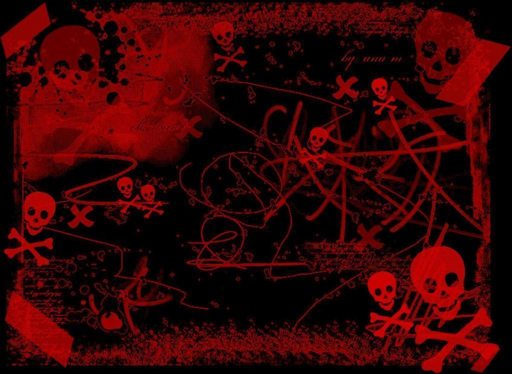 Black Skull Damask Wallpaper Cool Black And Red Wallpapers Wallpaper Cave