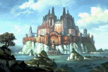 castle fantasy castles backgrounds desktop wallpapers 4k computer island background scenic hd ultra wall nightsong cave wallpapercave